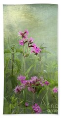 Beach Towel featuring the photograph Red Catchfly Or Campion by Liz Alderdice