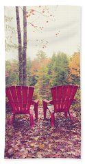 Beach Towel featuring the photograph Red Chairs By The Lake by Edward Fielding