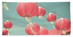 Red Chinese Paper Lanterns Beach Towel