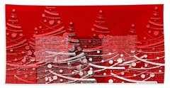 Red Christmas Trees Beach Sheet by Aimelle