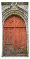 Red Church Door IIi Beach Sheet by Helen Northcott