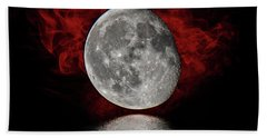 Red Cloud With Moon Over Water Beach Towel