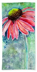 Beach Towel featuring the painting Red Cone Flower 9-1-15 by Mas Art Studio