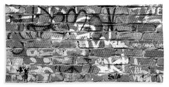 Red Construction Brick Wall And Spray Can Art Signatures Beach Towel
