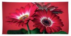 Red Daisies #5 Beach Sheet