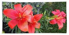 Red Day Lilies Beach Sheet