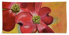 Beach Towel featuring the painting Red Dogwood - Canvas Wine Art by Jan Dappen