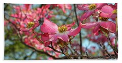 Red Dogwood Flowers Beach Sheet