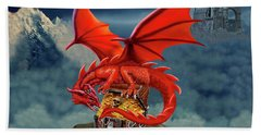 Red Dragon Guardian Of The Treasure Chest Beach Towel by Glenn Holbrook