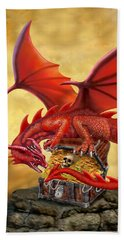 Red Dragon's Treasure Chest Beach Towel