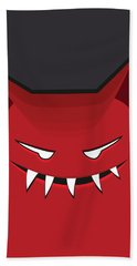 Red Evil Monster With Pointy Ears Beach Towel