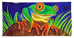Red-eyed Tree Frog And Starry Night Beach Towel