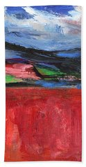 Red Field Landscape Beach Towel