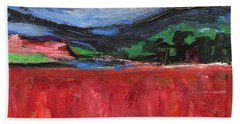 Red Field Landscape Beach Towel by Betty Pieper