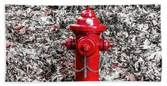 Red Fire Hydrant Beach Sheet