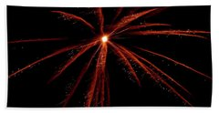 Beach Towel featuring the photograph Red Fireworks #0699 by Barbara Tristan