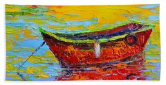Red Fishing Boat At Sunset - Modern Impressionist Knife Palette Oil Painting Beach Sheet