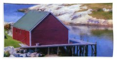 Red Fishing Shed On The Cove Beach Sheet by Ken Morris