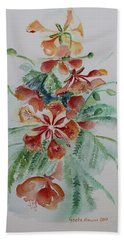 Red Flamboyant Flowers Still Life In Watercolor  Beach Sheet