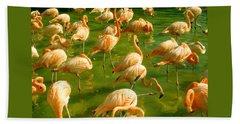 Red Florida Flamingos In Green Water Beach Sheet