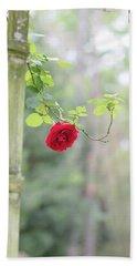 Red Flower Garden Beach Sheet