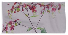 Beach Towel featuring the painting Red Flower Vine by Hilda and Jose Garrancho