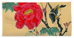 Red Flower With Bird 1870 Beach Towel