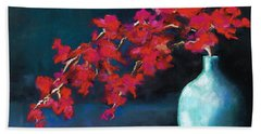 Red Flowers Beach Towel by Frances Marino