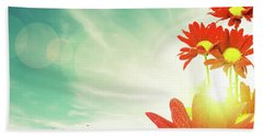 Beach Towel featuring the photograph Red Flowers Spring by Carlos Caetano