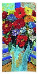 Red Flowers You Brought Beach Towel