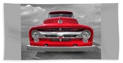 Red Ford F-100 Head On Beach Towel