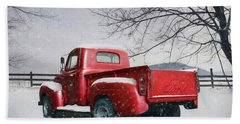 Red Ford Pickup Beach Sheet