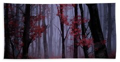 Red Forest 2 Beach Towel by Bekim Art