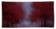 Red Forest Beach Towel by Bekim Art