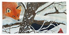 Red Fox And Cardinal Beach Towel
