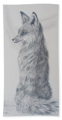 Beach Towel featuring the drawing Red Fox by Laurianna Taylor