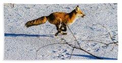 Red Fox On The Run Beach Towel