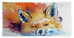 Red Fox Sleeping Beach Towel