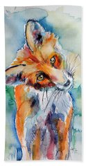 Red Fox Watching Beach Towel