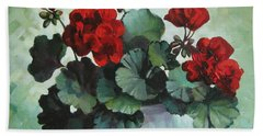 Beach Towel featuring the painting Red Geranium by Elena Oleniuc