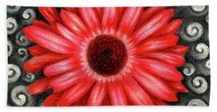 Red Gerbera Daisy Drawing Beach Towel