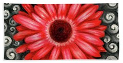 Red Gerbera Daisy Drawing Beach Sheet