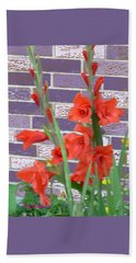 Red Gladiolas Beach Towel