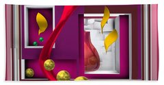 Beach Towel featuring the digital art Red Glass In The Room With White Light by Alberto RuiZ