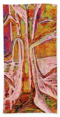 Red-gold Autumn Glow River Tree Beach Towel