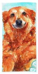 Red Golden Retriever Smile Beach Towel