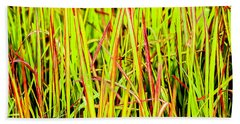 Red Green And Yellow Grass Beach Towel