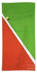 Red Green White Line And Tennis Ball Beach Towel by Silvia Ganora
