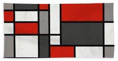 Red Grey Black Mondrian Inspired Beach Towel