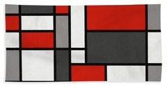 Red Grey Black Mondrian Inspired Beach Towel